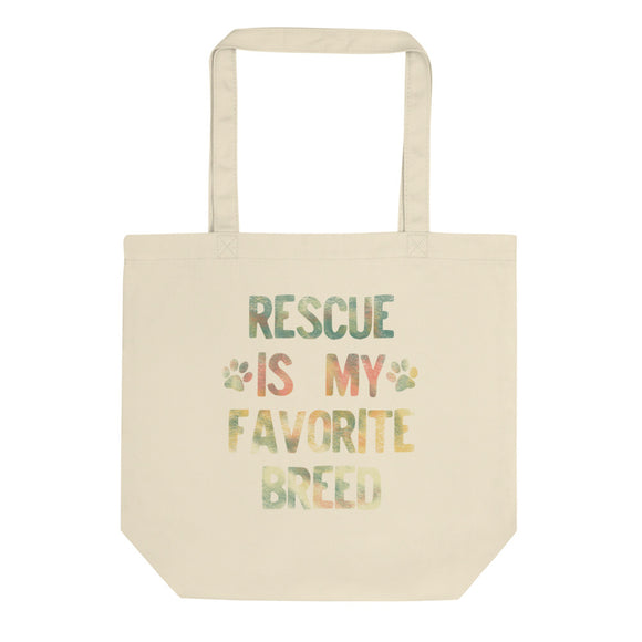 Rescued Dog Rescue Is My Favorite Breed Rainbow Distressed  graphic Eco Tote Bag