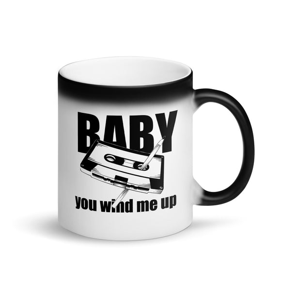 Baby You Wind Me Up Pen and Cassette Flirty Innuendo  design Matte Black Magic Mug