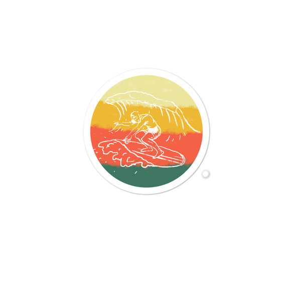 Retro Surfing Vintage Hand Drawn Graphic Illustration design Bubble-free stickers