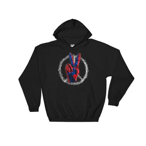 Peace Symbol With Finger Sign Red White and Blue Hippy Style product Unisex Hooded Sweatshirt