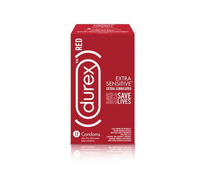 Durex RED Condom Extra Sensitive, 12 Count - Ultra Fine & Extra Lubricated, Natural Latex Condoms