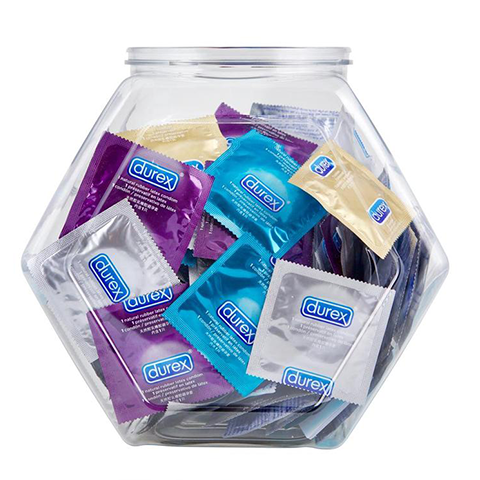 Durex Condom Fish Bowl Natural Latex Condoms, 144 Count - An Assortment of Ultra Fine & Lubricated