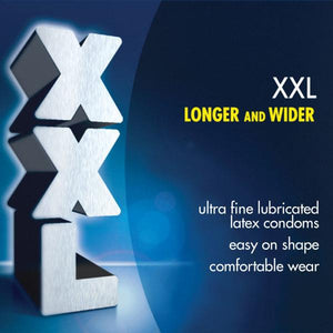 Durex Condom XXL Longer & Wider Natural Latex Condoms, Ultra Fine & Lubricated