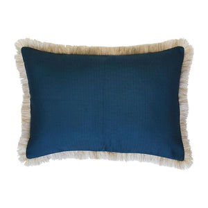 Coastal Fringe Natural - Teal Cushion 35 x 50