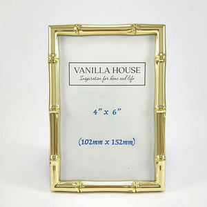Bamboo Style Photo Frame Gold 4 x 6