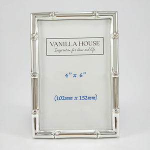 Bamboo Style Photo Frame Silver 4 x 6