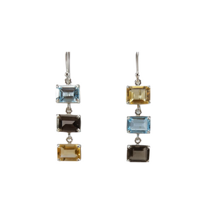 Blue Topaz, Smoky Quartz and Citrine Drop Earrings