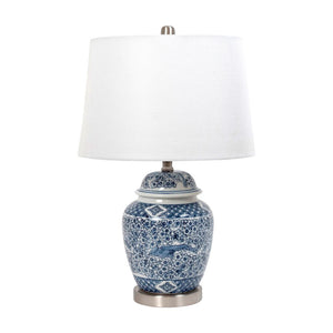 Ceramic Blue White Silver Lamp