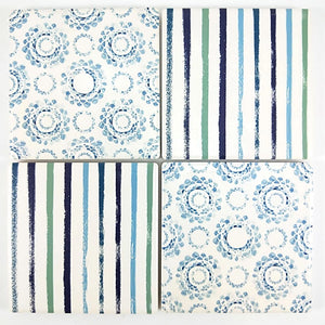 Blue Stripe & Pattern Coasters