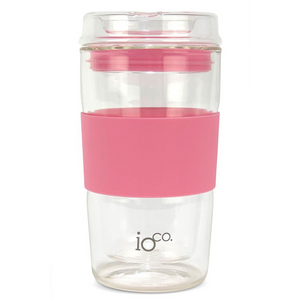 Glass Coffee/Tea Traveller - Dusty Rose 12 oz