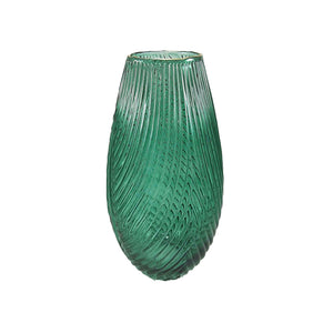 Green Glass Vase with Gold Rim