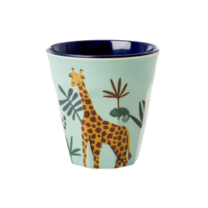Melamine Cup with Blue Jungle Animal Print