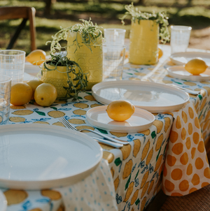 Lemon Navy Tablecloth