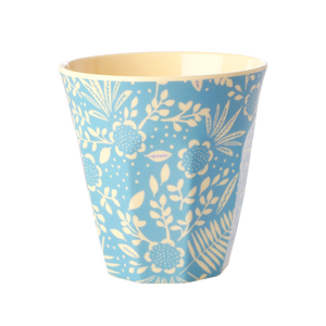 Melamine Cup with Blue Fern & Flower Print