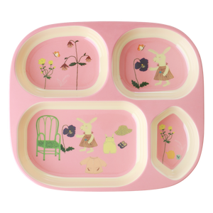 Melamine 4 Room Plate with Pink Bunny