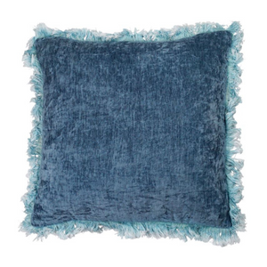 Washed Steel Blue Frill Velvet Cushion