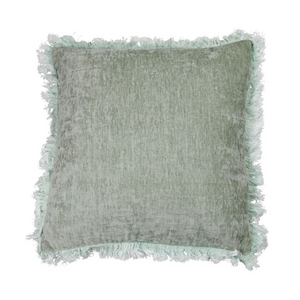 Washed Sage Frill Velvet Cushion