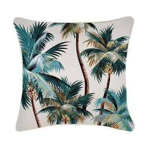 Piping Palm Trees Natural Cushion 45 x 45