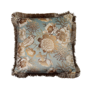 Plato Light Blue Velvet Bird Cushion