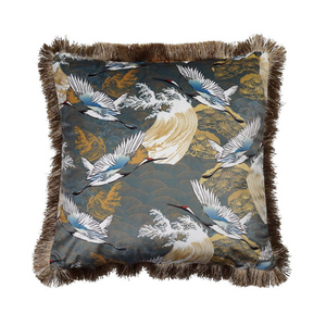 Plato Steel Blue Velvet Crane Cushion