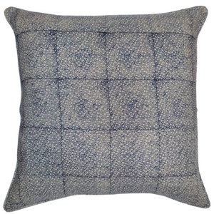 Dark Blue Flowers Organic Linen Cushion 55 x 55