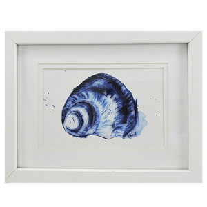 Blue Sea Shell Watercolour Print - Small