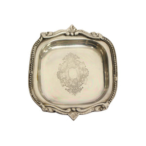 Small Square Silver Tray with Beading