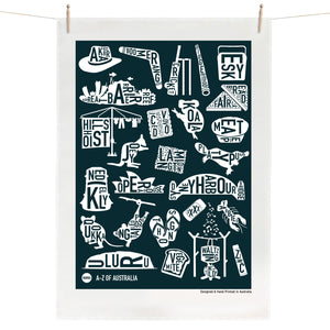A-Z of Australia Tea Towel - Navy