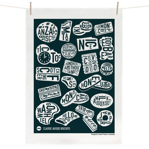 Classic Aussie Biscuits Tea Towel - Navy