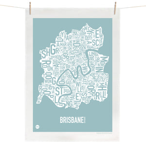 Brisbane Tea Towel - Duck Egg Blue