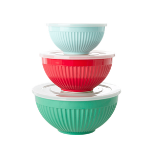 Melamine Bowls with Lid - Set 3 - Red Lipstick