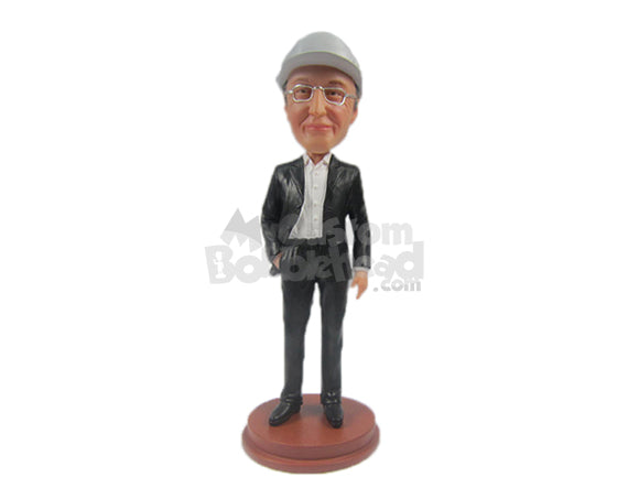 Custom Bobblehead Elegant Male In Stylish Suit With One Hand In His Pocket - Leisure & Casual Casual Males Personalized Bobblehead & Cake Topper