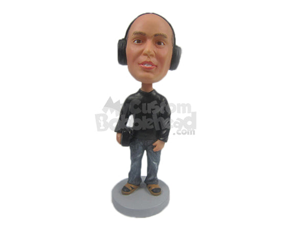 Custom Bobblehead Cool Guy In Sandals With Headphone And A Bag In Hand - Leisure & Casual Casual Males Personalized Bobblehead & Cake Topper