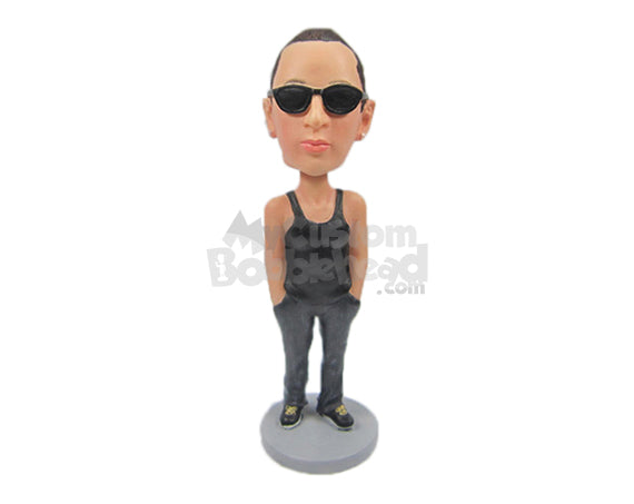 Custom Bobblehead Uber Cool Dude In Vest And Track Pants With Hands In Pocket - Leisure & Casual Casual Males Personalized Bobblehead & Cake Topper