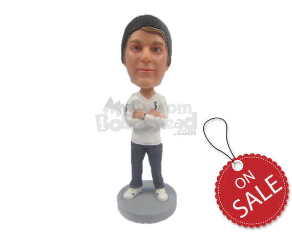 Custom Bobblehead Fashionable Male With Hands Folded - Leisure & Casual Casual Males Personalized Bobblehead & Cake Topper