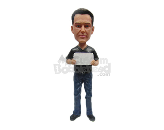 Custom Bobblehead Graceful Guy In Jacket - Leisure & Casual Casual Males Personalized Bobblehead & Cake Topper