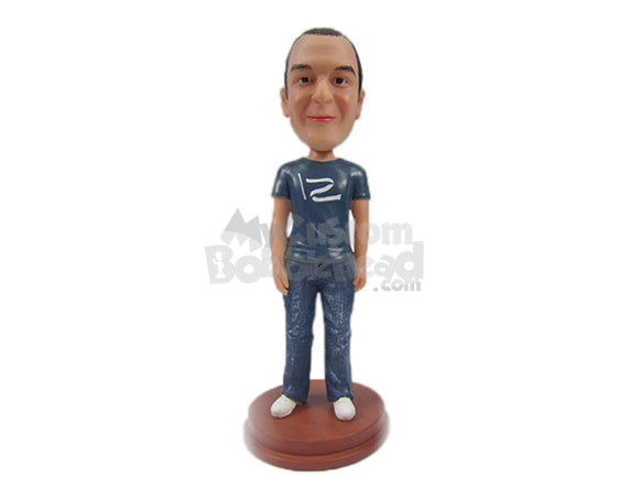 Custom Bobblehead Happy Neat Man In Comfortable Casual - Leisure & Casual Casual Males Personalized Bobblehead & Cake Topper