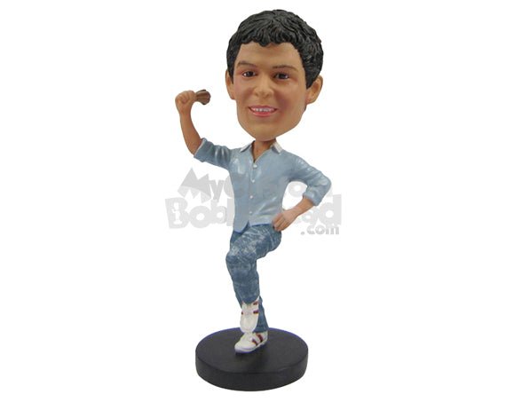 Custom Bobblehead Dapper Dude Enjoying His Favorite Song - Leisure & Casual Casual Males Personalized Bobblehead & Cake Topper