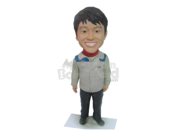 Custom Bobblehead Happy Male In High Neck Tshirt And Sleeveless Jacket - Leisure & Casual Casual Males Personalized Bobblehead & Cake Topper