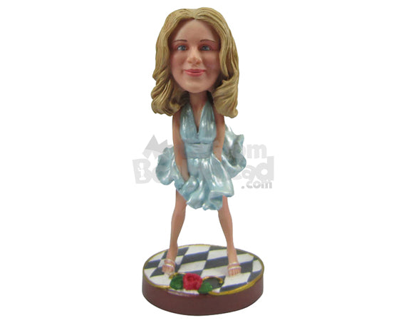 Custom Bobblehead Gorgeous Woman Dancing To The Beats - Leisure & Casual Casual Females Personalized Bobblehead & Cake Topper