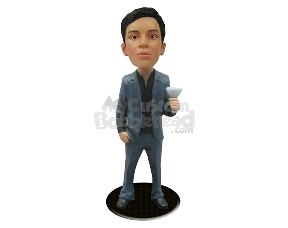 Custom Bobblehead Handsome Male In A Suit With A Drink In His Hand - Leisure & Casual Casual Males Personalized Bobblehead & Cake Topper