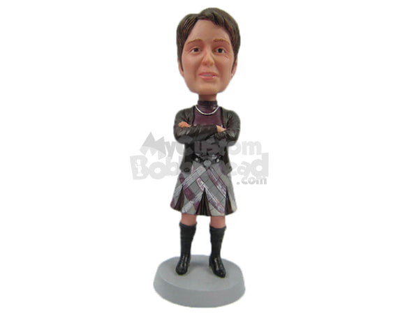 Custom Bobblehead Gorgeous Woman In Trendy Outfit With Hands Folded - Leisure & Casual Casual Females Personalized Bobblehead & Cake Topper