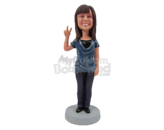 Custom Bobblehead Happy Cute Girl In Stylish Top With Peace Hand Sign - Leisure & Casual Casual Females Personalized Bobblehead & Cake Topper