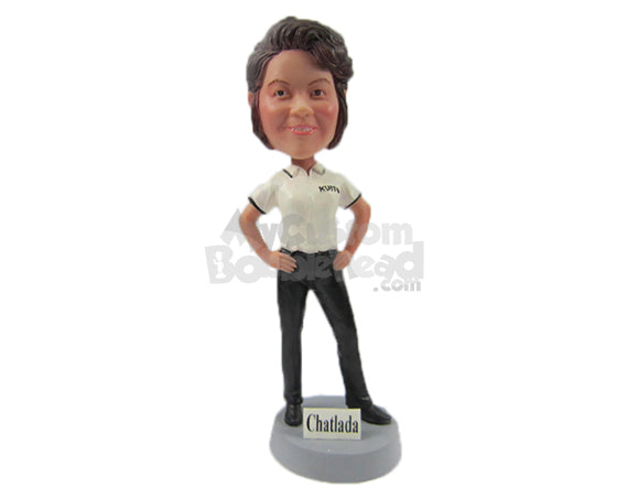 Custom Bobblehead Bold Lady In Awesome Polo Tshirt With Hands On Her Waist - Leisure & Casual Casual Females Personalized Bobblehead & Cake Topper