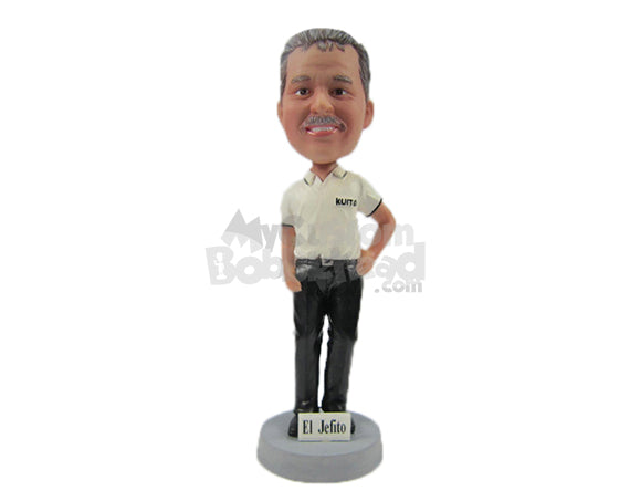 Custom Bobblehead Handsome Gentleman In Stylish Polo With Hands In Pocket - Leisure & Casual Casual Males Personalized Bobblehead & Cake Topper