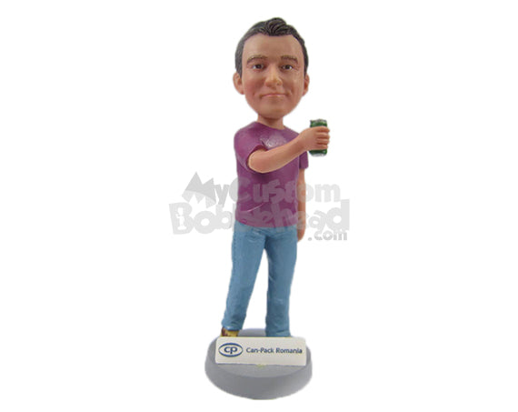 Custom Bobblehead Cool Guy In Cool Tshirt Holding A Can - Leisure & Casual Casual Males Personalized Bobblehead & Cake Topper