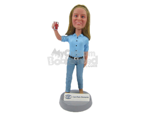 Custom Bobblehead Gorgeous Lady In Stylish Shirt Holding A Can - Leisure & Casual Casual Females Personalized Bobblehead & Cake Topper