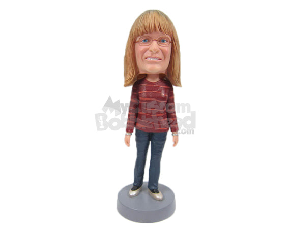 Custom Bobblehead Gorgeous Lady In Stylish Top With Bracelets - Leisure & Casual Casual Females Personalized Bobblehead & Cake Topper