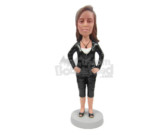 Custom Bobblehead Charming Lady With Trendy Top And Stylish Necklace - Leisure & Casual Casual Females Personalized Bobblehead & Cake Topper