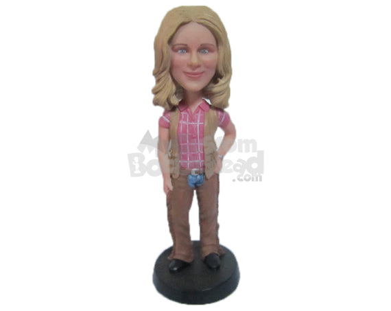 Custom Bobblehead Beautiful Girl In Stylisg=H Cowgirl Attire - Leisure & Casual Casual Females Personalized Bobblehead & Cake Topper
